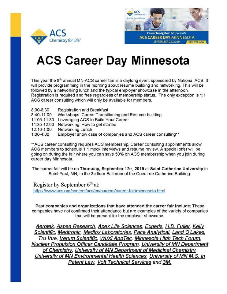 Announcing 2019 ACS Career Day in Minneapolis