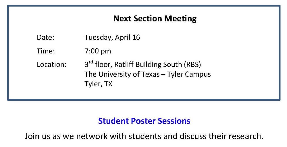 April 16 Section Meeting