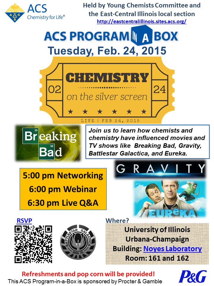 """Webinar """"Chemistry on the Silver Screen"""" on Tuesday February 24th at 5 pm"""