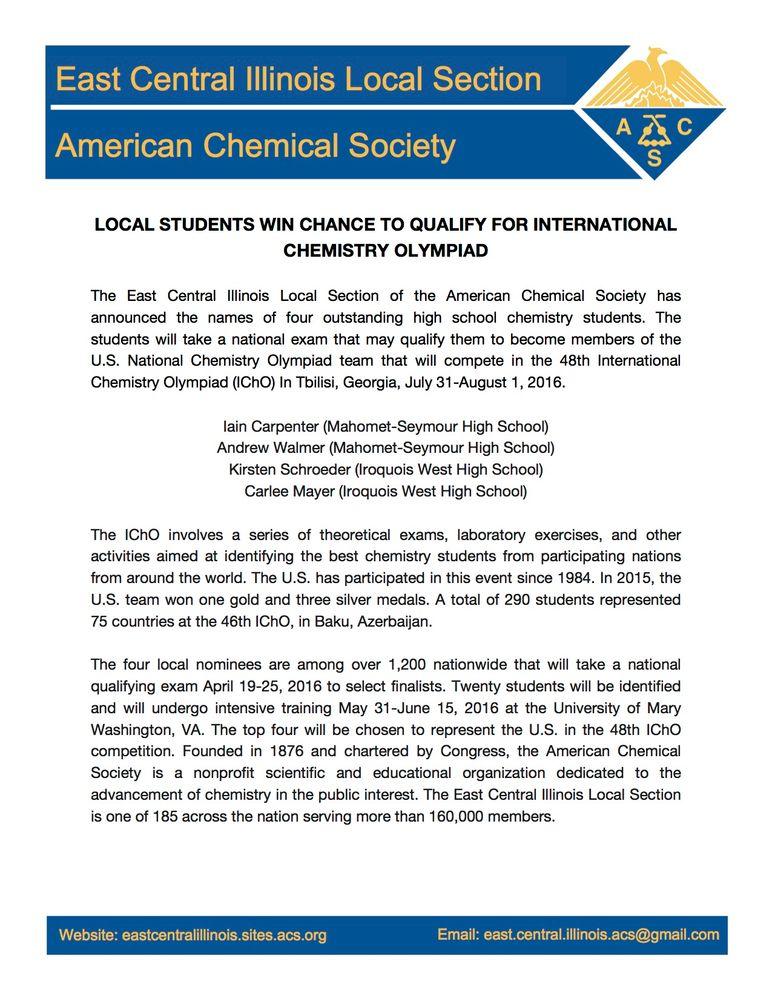 2016 U. S. National Chemistry Olympiad