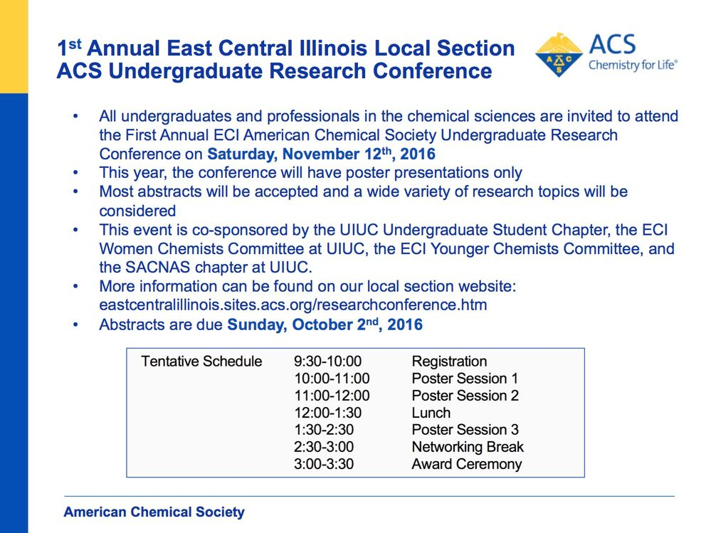 First Annual ECI American Chemical Society Undergraduate Research Conference