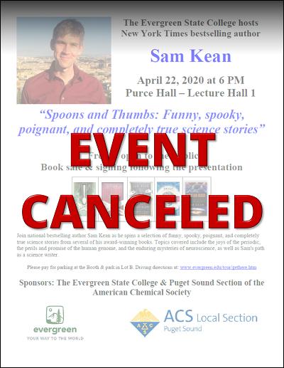 Canceled:  Sam Kean | April 22nd, 2020